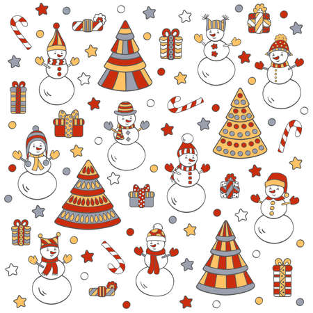 Vector greeting card, set with cute snowmen, Christmas trees and gifts, on a white background. For packaging design, covers, textile prints Illustration
