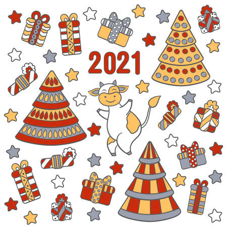 Vector greeting card, set with symbol of 2021, funny cute bull or cow, Christmas trees and gifts, on a white background. For packaging design, covers, textile prints