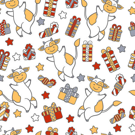 Vector seamless pattern with 2021 symbol bull or cow, Christmas gifts and holiday stars on a white background. For design of postcards, packages, covers, textile prints 일러스트
