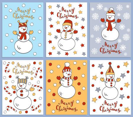 Vector set of six Christmas winter greeting cards with cute funny cartoon snowmen 일러스트