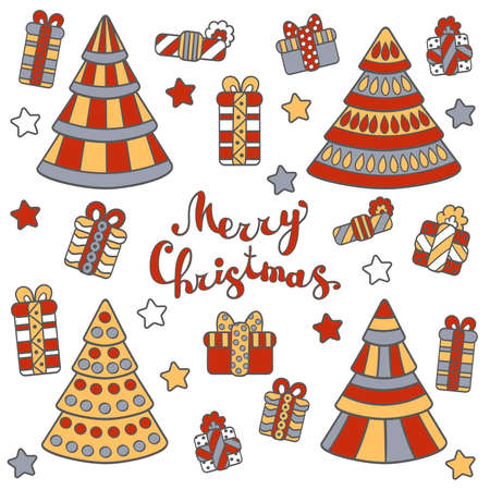Vector greeting card, set with Christmas trees and gifts, on a white background. For packaging design, covers, textile prints