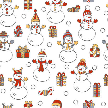 Vector Christmas seamless pattern with snowmen and gifts on a white background. For packaging design, covers, textile prints