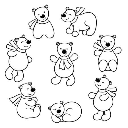 Vector set of cute cartoon bears in a scarf, coloring page