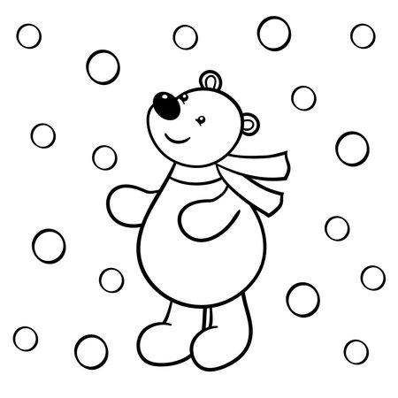 Vector cute cartoon bear looking at the snow, coloring page