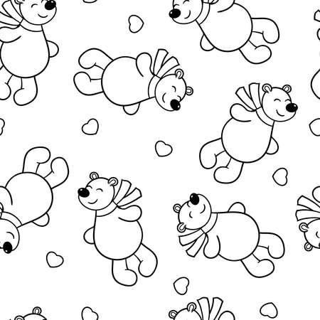 Seamless pattern with vector cute bear in love with hearts, coloring page
