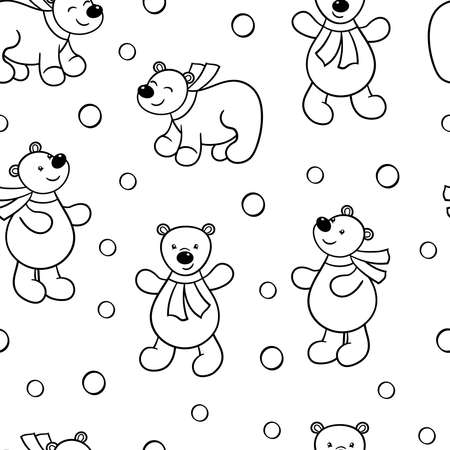 Vector seamless pattern with cute cartoon bear looking at the snow, coloring page