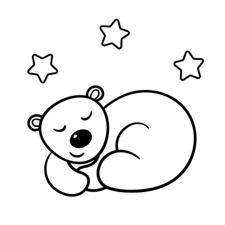 Vector cute cartoon sleeping bear under the stars, coloring page
