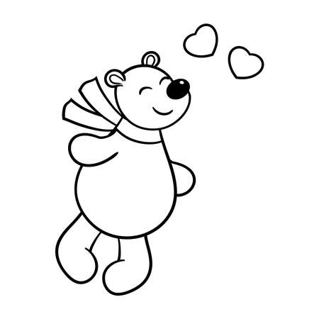Vector cute bear in love with hearts, coloring page
