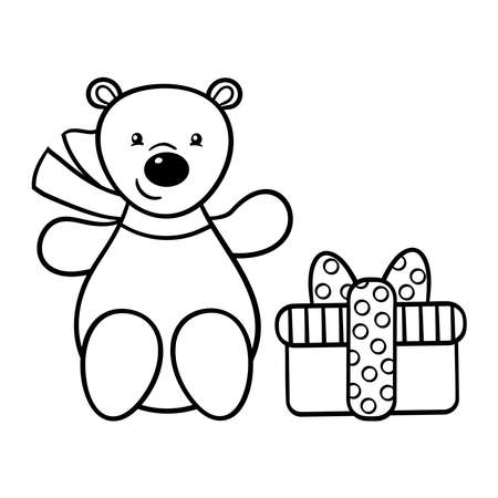 Vector cute toy bear in a scarf with a holiday gift, coloring page