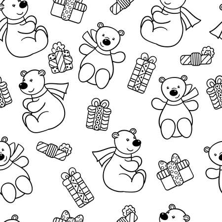 Vector seamless pattern with cute toy bear in a scarf with a holiday gift, coloring page