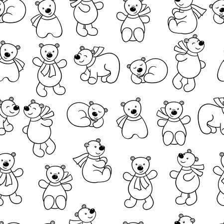 Vector seamless pattern with set of cute cartoon bears in a scarf, coloring page