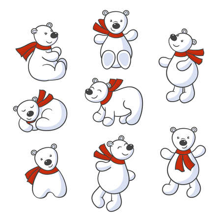 Vector set of cute cartoon polar bears in red scarves on a white background