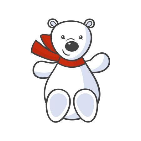Vector cute cartoon toy white polar bear in red scarf 일러스트