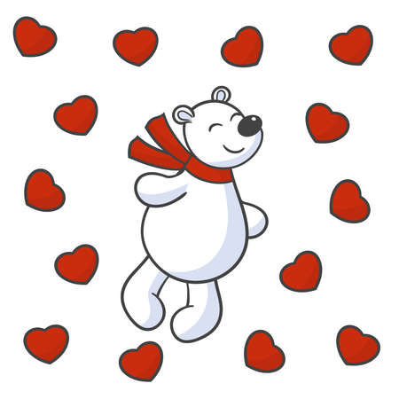 Vector cute bear in love with hearts, for the design of valentine's day greeting cards