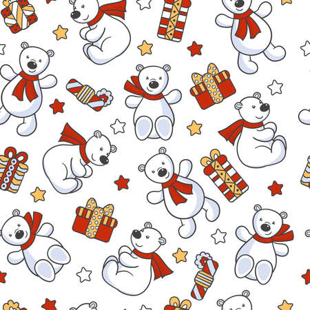 Vector seamless pattern with cute toy bears in a scarf with a holiday gifts, for the design of packages, covers, textile prints