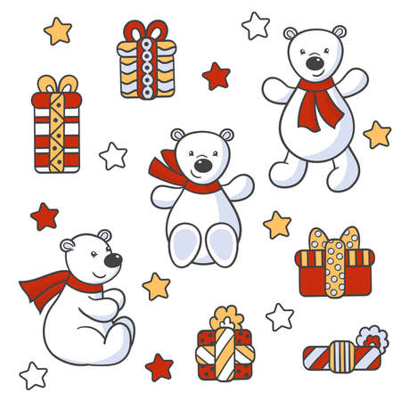 Vector cute toy bears in a scarf with a holiday gifts, for the design of packages, covers, textile prints, children's books, greeting cards