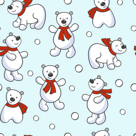 Vector seamless pattern with cute cartoon bear looking at the snow, on a blue background. For the design of packages, covers, textile prints 일러스트