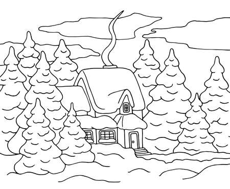 Vector illustration with a house in a winter snow forest, coloring page for children and adults 일러스트