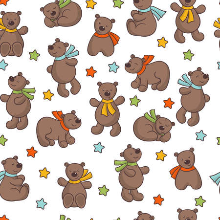 Seamless pattern with vector set of cute cartoon bears in multicolored scarves and stars on a white background