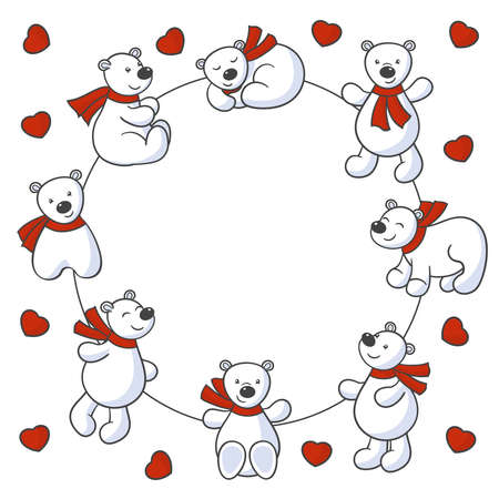 Beautiful frame with vector set of cute cartoon polar bears in red scarves and hearts on a white background, for valentine's day greeting card design