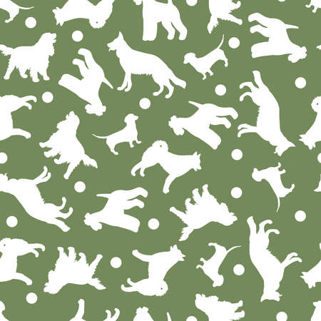 Seamless pattern with vector white silhouettes of different dog breeds on a green background. For the design of packages, covers, textile prints 일러스트