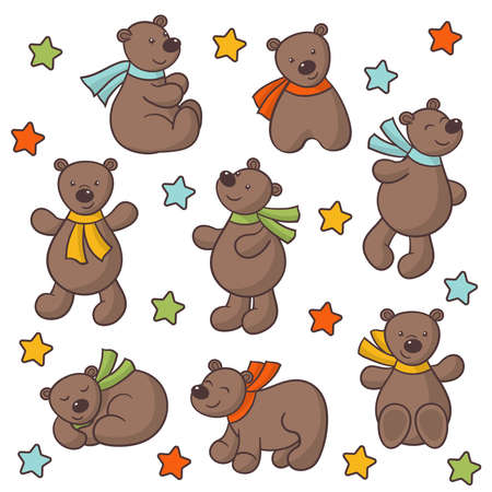 Vector set of cute cartoon bears in multicolored scarves and stars on a white background