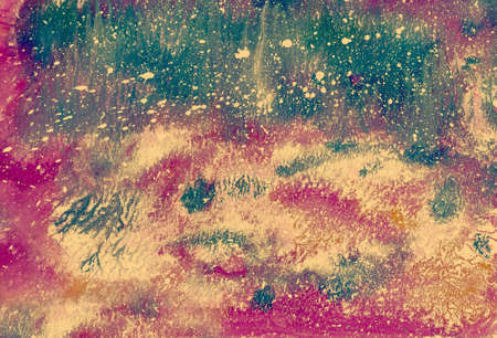 Hand-made abstract pattern, multi-colored background, texture, watercolor painting, fantastic landscape, for creativity, montage, design