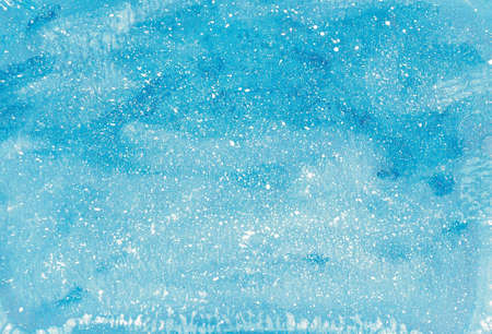 Abstract blue watercolor texture with white splashes, spots, for the design of creative works 스톡 콘텐츠