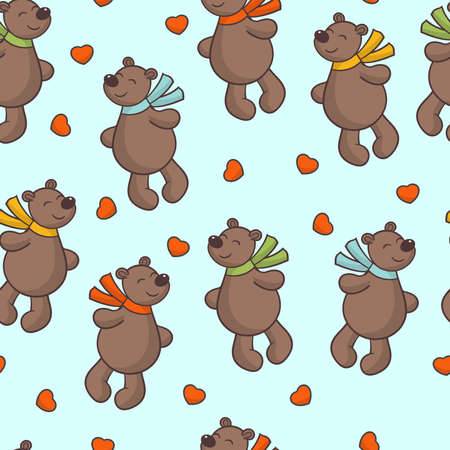 Seamless pattern with vector cute brown bear in love and red hearts, for the design of valentine's day greeting cards