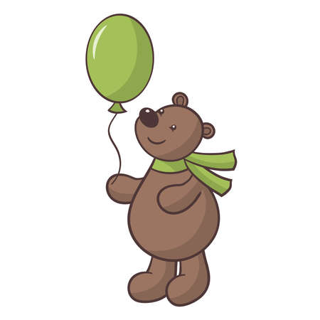Vector cute cartoon brown bear in scarf with balloon in paw, isolate on white background