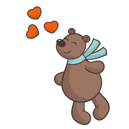 Vector cute brown bear in love with hearts, for the design of valentine's day greeting cards