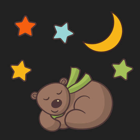 Vector cute cartoon brown bear in green scarf sleeping at night under the moon and stars