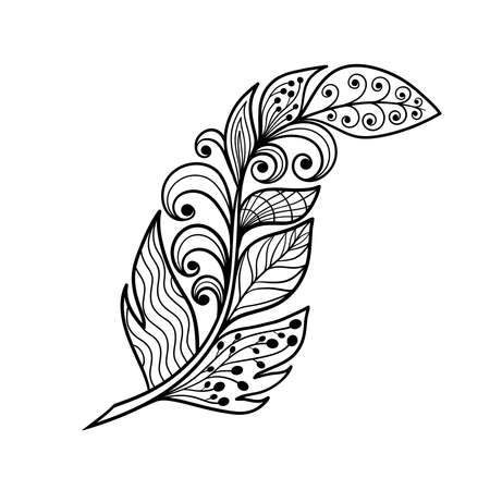 Abstract vector feather with patterns in the style of zen art, coloring page for kids and adults