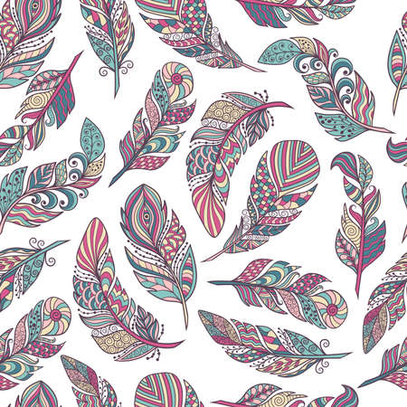 Seamless pattern, vector set of beautiful abstract feathers in ethnic style on a white background, zenart, limited palette, for design and decoration
