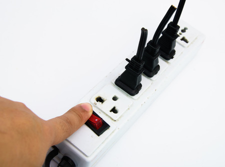 Electric hub and switch save energy concept with white background isolated