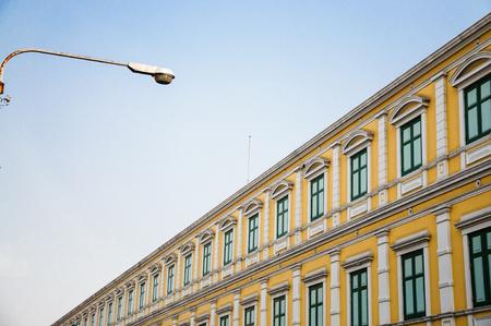 leading light: Building Leading line light and bluesky Stock Photo