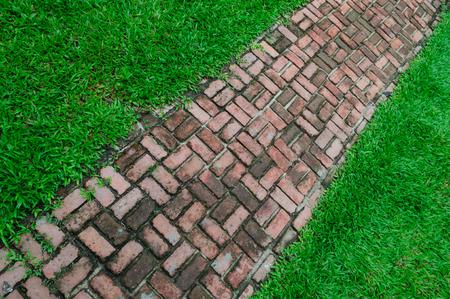 Brick walk way on the green field background photo