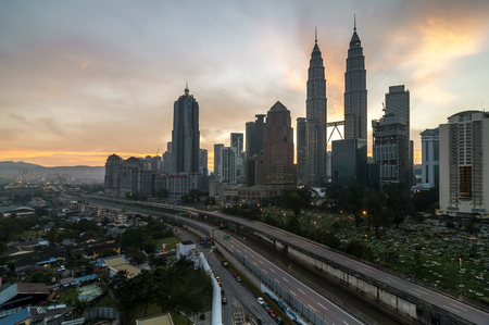 january sunrise: Kuala Lumpur Malaysia 11 JANUARY 2016: Kuala Lumpur during sunrise in the morning.