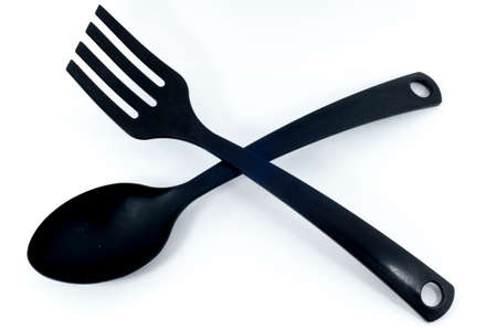 slotted: Plastic spoon and fork black