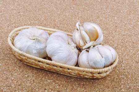 Fresh garlic selective focus. Stock Photo