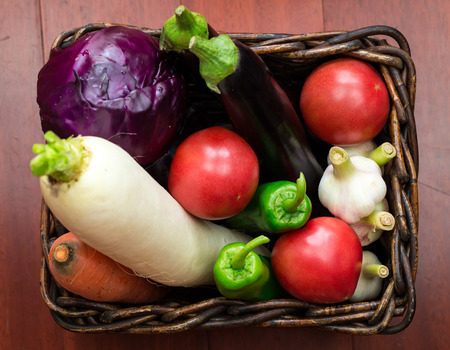 collocation: Vegetables basket Stock Photo