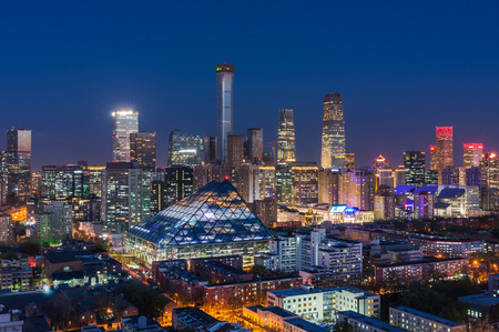 Beijing CBD skyline night view