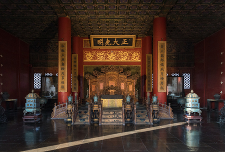 Throne in the palace of the Forbidden City, Beijing, China