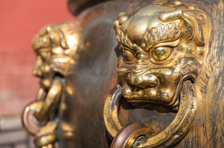 Copper beast head of the Forbidden City in Beijing
