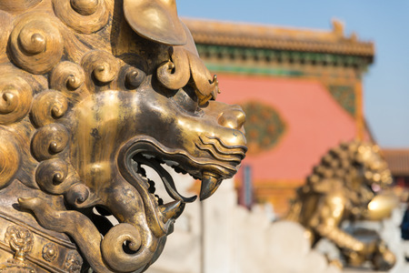 Copper lion of the Forbidden City in Beijing