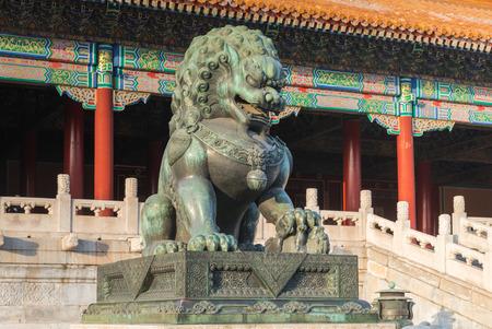Bronze lion of the Forbidden City in Beijing