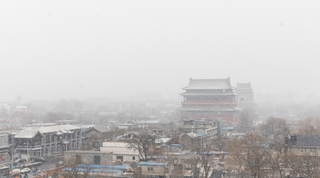 Beijing Bell tower and Drum tower in the snow