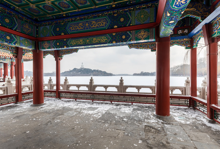 Beijing Beihai Park Snow Scene from Look out the pavilion