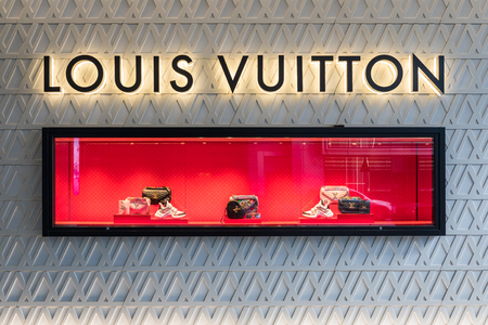 BEIJING - February 17: louis vuitton on February 17, 2019 in BEIJING, China. Louis vuitton window show. Éditoriale