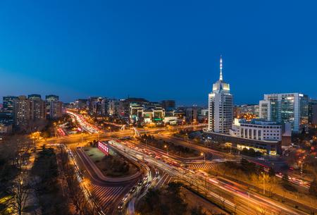 Beijing skyline night scene (Fuxingmen) 免版税图像